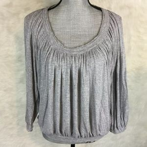 Chelsea & Theodore Distressed Blouse Top Stretch
